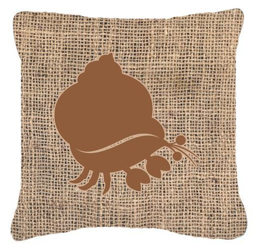 Hermit Crab Burlap and Brown   Canvas Fabric Decorative Pillow BB1102 by Caroline's Treasures