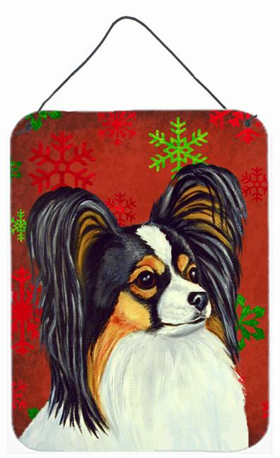 Papillon Red and Green Snowflakes Holiday Christmas Wall or Door Hanging Prints by Caroline's Treasures