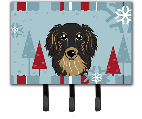 Buy this Winter Holiday Longhair Black and Tan Dachshund Leash or Key Holder BB1709TH68