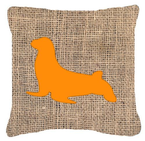 Buy this Seal Burlap and Orange   Canvas Fabric Decorative Pillow BB1027