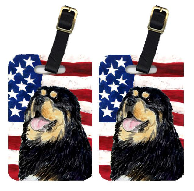 Pair of USA American Flag with Tibetan Mastiff Luggage Tags SS4039BT by Caroline's Treasures