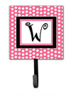 Letter W Initial Monogram - Pink Black Polka Dots Leash Holder or Key Hook by Caroline's Treasures