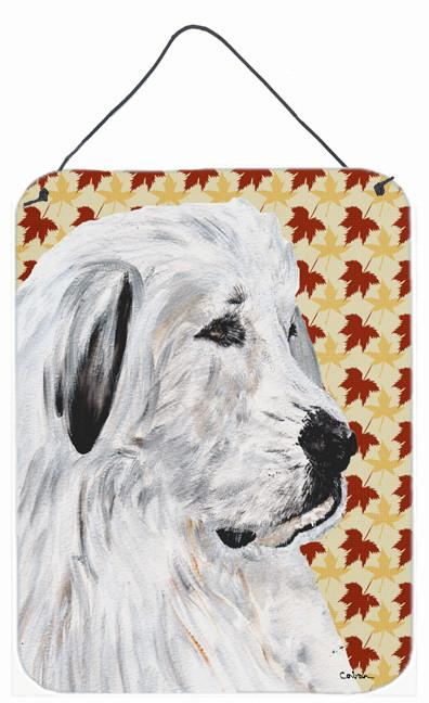 Great Pyrenees Fall Leaves Wall or Door Hanging Prints SC9690DS1216 by Caroline's Treasures