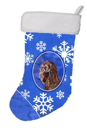 Buy this Boykin Spaniel Winter Snowflakes Christmas Stocking SC9602-CS