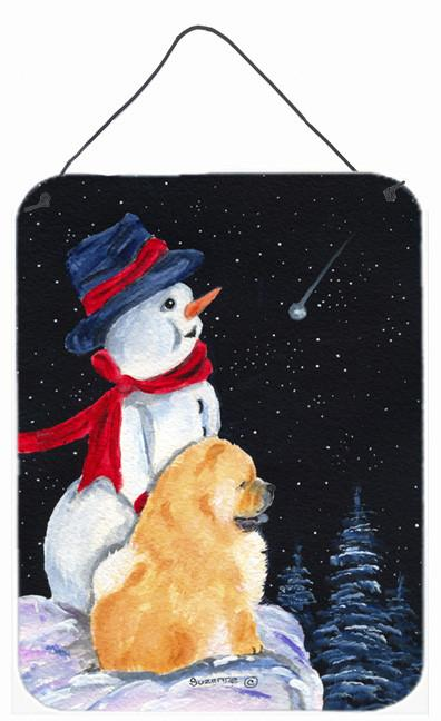 Snowman with Chow Chow Aluminium Metal Wall or Door Hanging Prints by Caroline's Treasures
