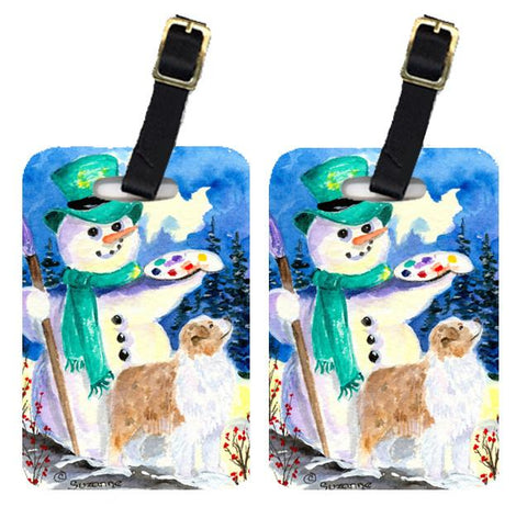 Buy this Snowman with Australian Shepherd Luggage Tags Pair of 2