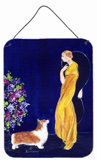 Buy this Lady with her Corgi Aluminium Metal Wall or Door Hanging Prints