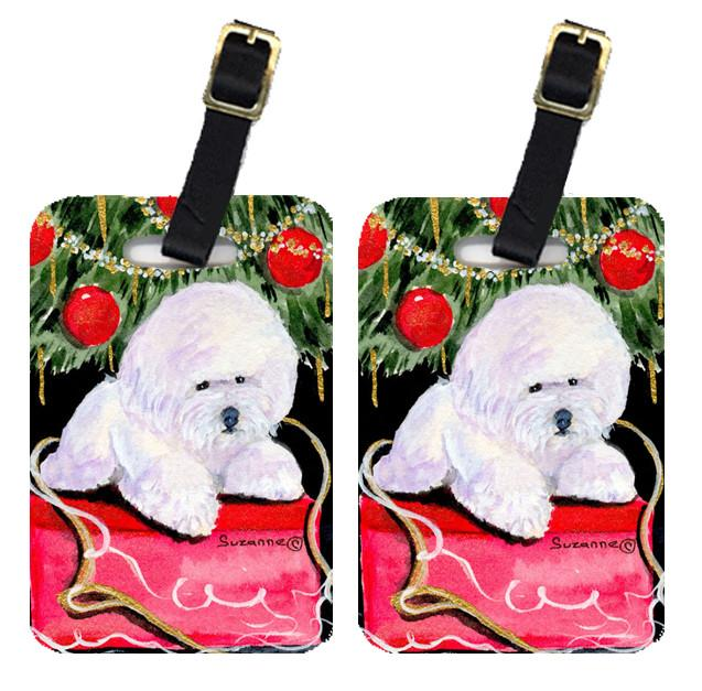 Christmas Tree with  Bichon Frise Luggage Tags Pair of 2 by Caroline's Treasures