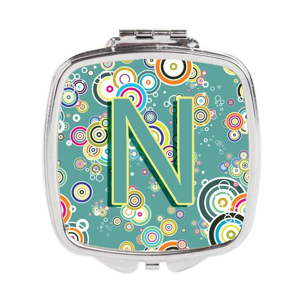 Letter N Circle Circle Teal Initial Alphabet Compact Mirror CJ2015-NSCM by Caroline's Treasures