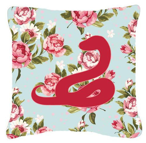 Buy this Snake Shabby Chic Blue Roses   Canvas Fabric Decorative Pillow BB1124