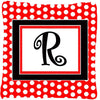 Letter R Initial Monogram Red Black Polka Dots Decorative Canvas Fabric Pillow - the-store.com