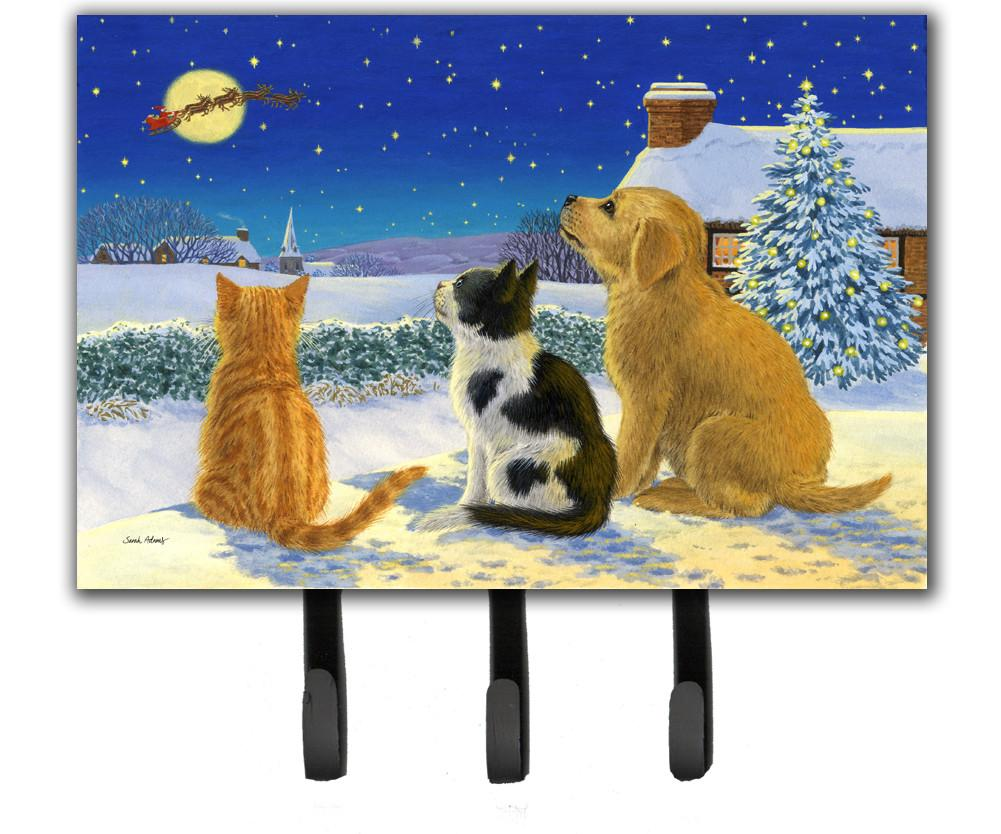 Buy this Golden Retriever and kittens Watching Santa Leash or Key Holder ASA2208TH68