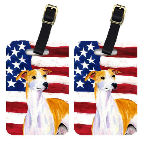 Buy this Pair of USA American Flag with Whippet Luggage Tags SS4246BT