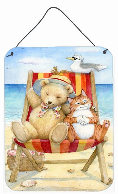 Summer Teddy Bear and Cat on Beach Wall or Door Hanging Prints CDCO0336DS1216 by Caroline's Treasures