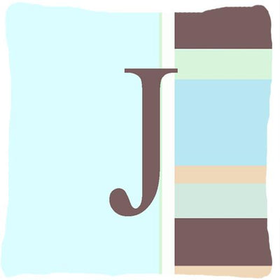 Buy this Letter J Initial Monogram - Blue Stripes Decorative   Canvas Fabric Pillow