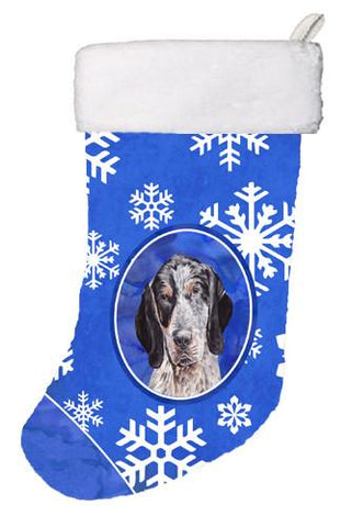 Buy this Blue Tick Coonhound Winter Snowflakes Christmas Stocking SC9769-CS