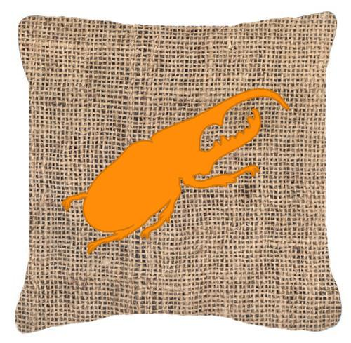 Beetle Burlap and Orange   Canvas Fabric Decorative Pillow BB1056 - the-store.com