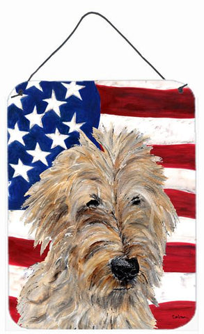 Buy this Golden Doodle 2 with American Flag USA Wall or Door Hanging Prints SC9643DS1216