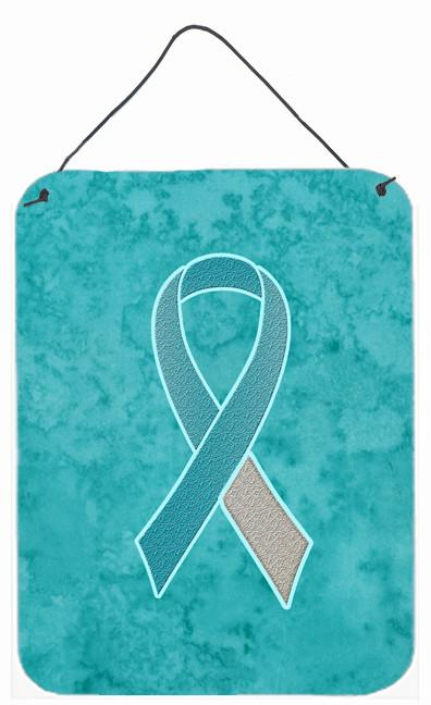 Teal and White Ribbon for Cervical Cancer Awareness Wall or Door Hanging Prints AN1215DS1216 by Caroline's Treasures
