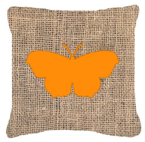 Buy this Butterfly Burlap and Orange   Canvas Fabric Decorative Pillow BB1049