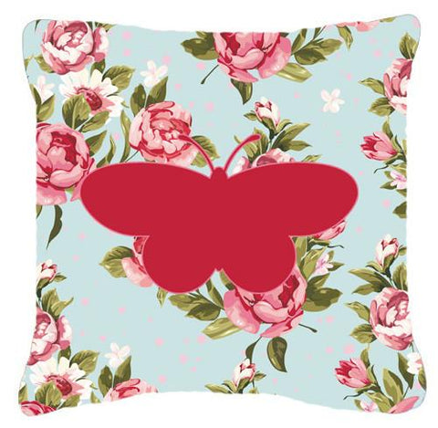 Buy this Butterfly Shabby Chic Blue Roses   Canvas Fabric Decorative Pillow BB1051
