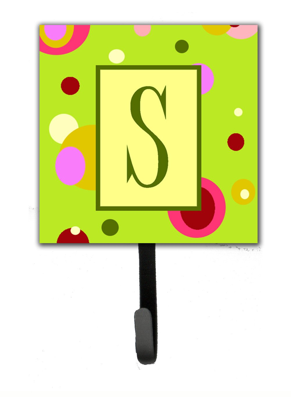 Letter S Initial Monogram - Green Leash Holder or Key Hook by Caroline's Treasures