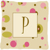 Buy this Letter P Initial Monogram - Tan Dots Decorative   Canvas Fabric Pillow
