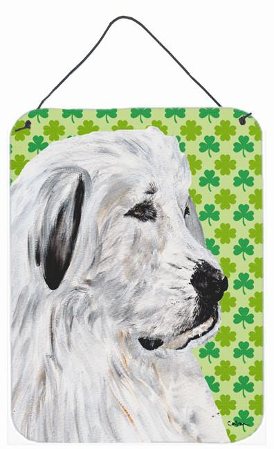 Great Pyrenees Lucky Shamrock St. Patrick's Day Wall or Door Hanging Prints SC9738DS1216 by Caroline's Treasures