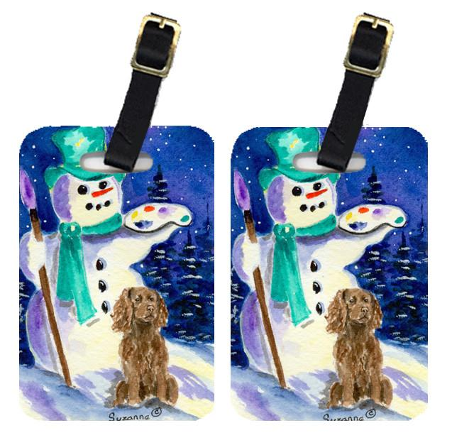 Buy this Artist Snowman with Boykin Spaniel  Luggage Tags Pair of 2