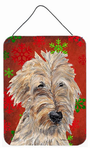 Buy this Goldendoodle Red Snowflake Christmas Wall or Door Hanging Prints