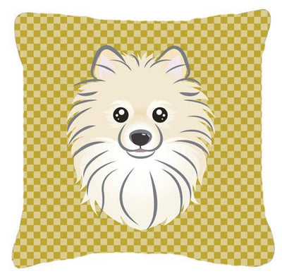 Buy this Tan Checkered Pomeranian   Canvas Fabric Decorative Pillow BB1135PW1414
