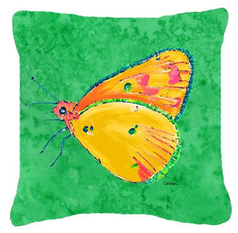Buy this Butterfly Orange on Green   Canvas Fabric Decorative Pillow