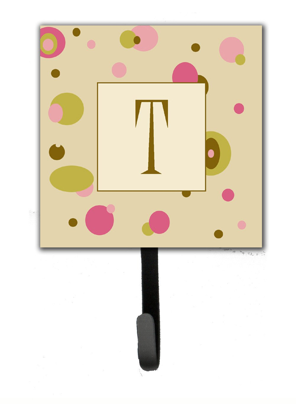 Letter T Initial Monogram - Tan Dots Leash Holder or Key Hook by Caroline's Treasures