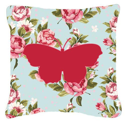 Buy this Butterfly Shabby Chic Blue Roses   Canvas Fabric Decorative Pillow BB1049