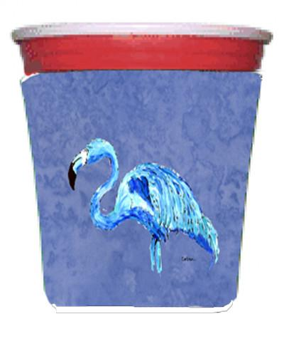 Flamingo On Slate Blue Red Solo Cup Beverage Insulator Hugger by Caroline's Treasures