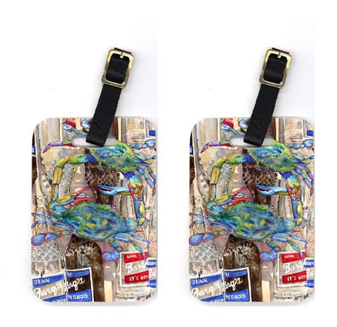 Buy this Pair of Blue Crabby Bottles of Barqs Rootbeer Luggage Tags