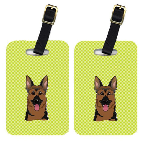 Buy this Pair of Checkerboard Lime Green German Shepherd Luggage Tags BB1273BT