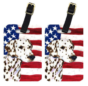 Buy this Pair of USA American Flag with Dalmatian Luggage Tags SS4225BT