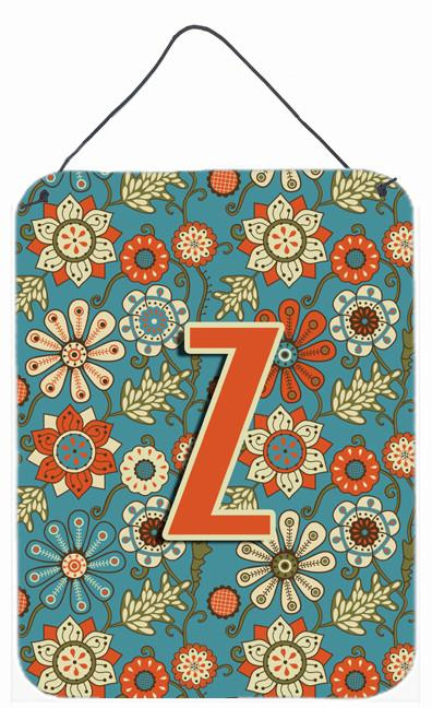 Letter Z Flowers Retro Blue Wall or Door Hanging Prints CJ2012-ZDS1216 by Caroline's Treasures
