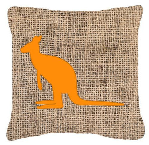 Buy this Kangaroo Burlap and Orange   Canvas Fabric Decorative Pillow BB1008