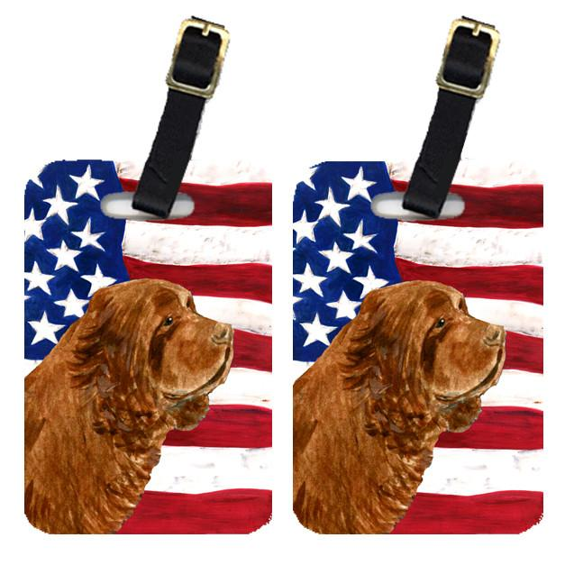 Buy this Pair of USA American Flag with Sussex Spaniel Luggage Tags SS4037BT