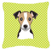 Checkerboard Lime Green Jack Russell Terrier Canvas Fabric Decorative Pillow BB1323PW1414 - the-store.com