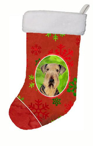 Buy this Airedale Red and Green Snowflakes Holiday Christmas Christmas Stocking SC9413
