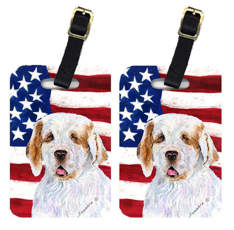 Buy this Pair of USA American Flag with Clumber Spaniel Luggage Tags SS4027BT