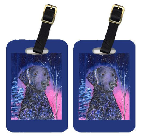 Buy this Starry Night Curly Coated Retriever Luggage Tags Pair of 2