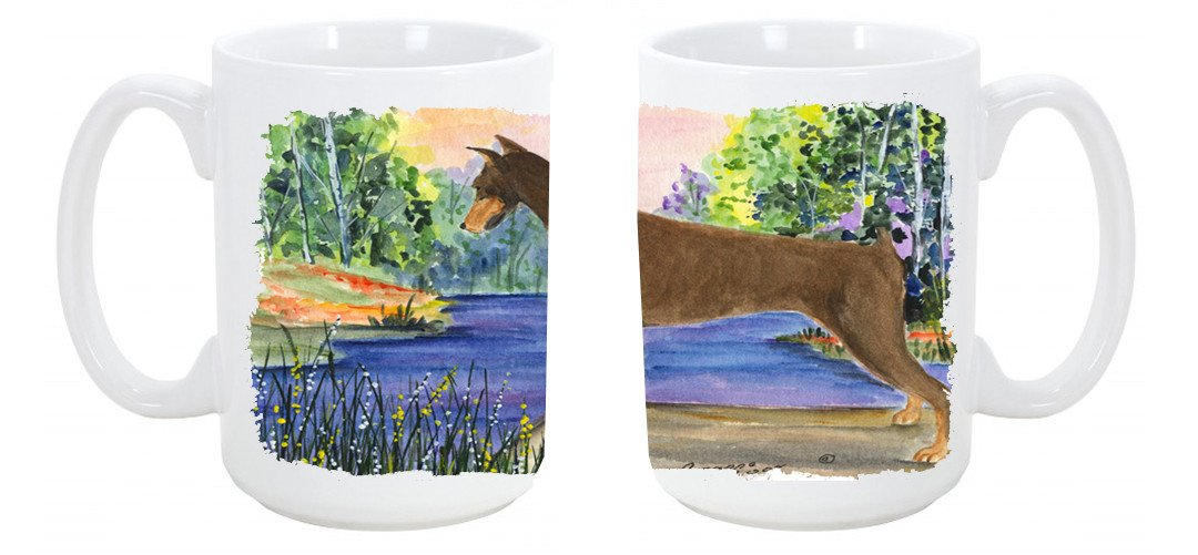 Buy this Doberman Dishwasher Safe Microwavable Ceramic Coffee Mug 15 ounce SS8066CM15