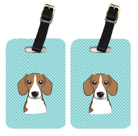 Buy this Pair of Checkerboard Blue Beagle Luggage Tags BB1177BT