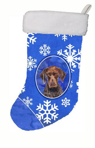 Buy this German Shorthaired Pointer Winter Snowflakes Christmas Stocking SC9395