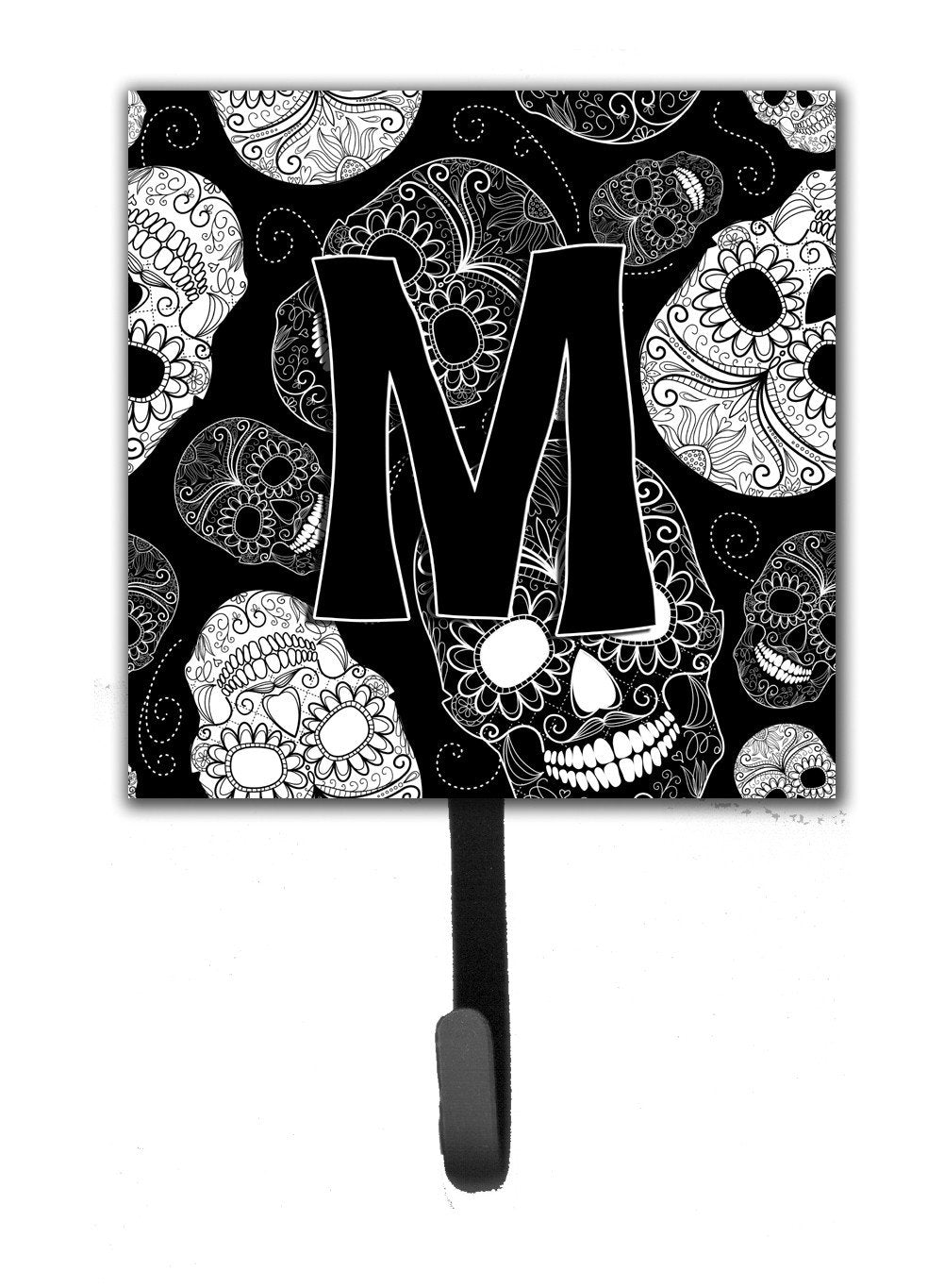 Letter M Day of the Dead Skulls Black Leash or Key Holder CJ2008-MSH4 by Caroline's Treasures