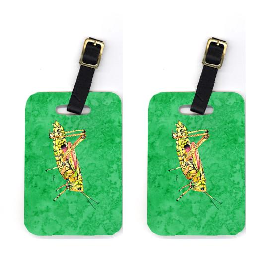 Pair of Grasshopper on Green Luggage Tags by Caroline's Treasures